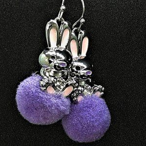 Adorable Purple Bunny PomPom Dangling Earrings